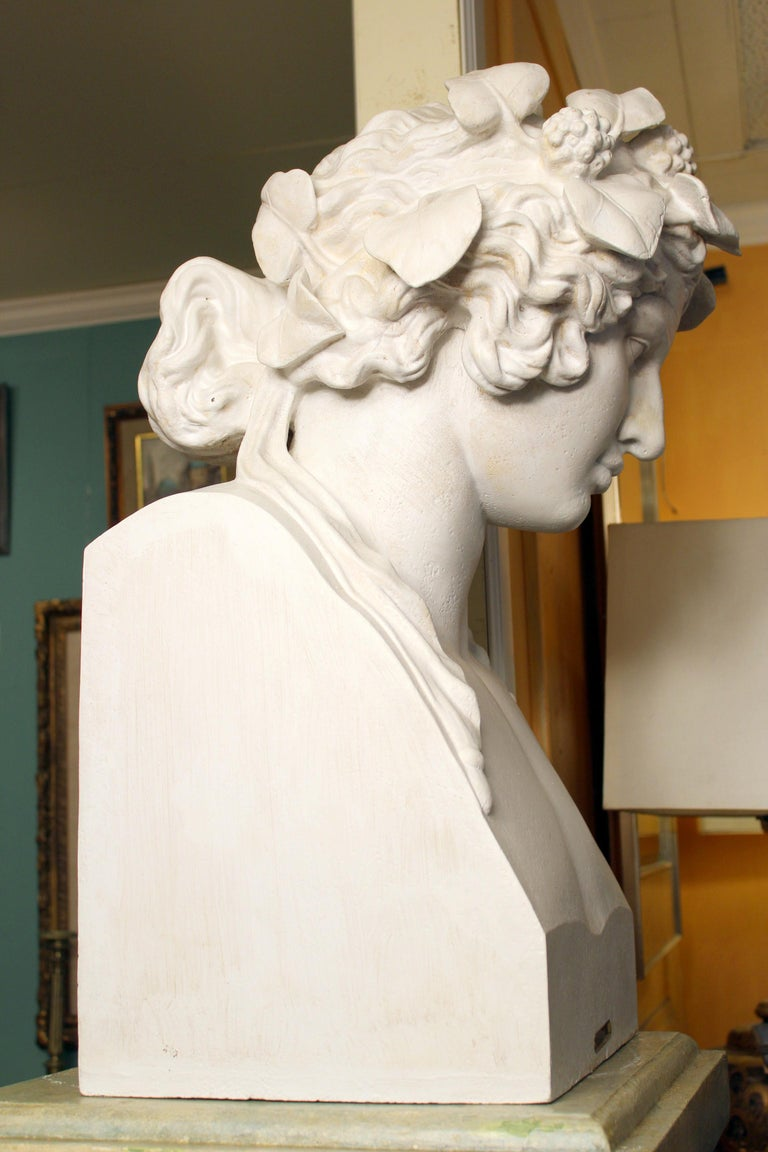 J.J. Ducel painted cast iron Bust and faux marble Pedestal In Good Condition For Sale In Laguna Beach, CA