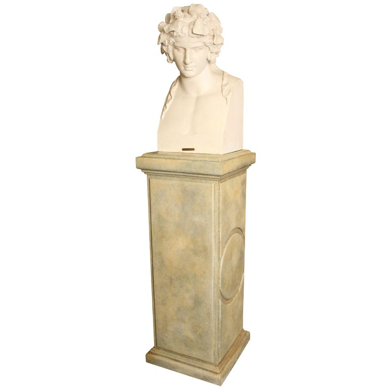 J.J. Ducel painted cast iron Bust and faux marble Pedestal For Sale