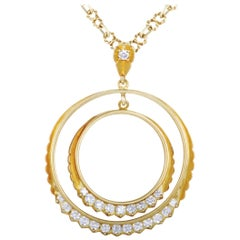 J.J. Marco Diamond Yellow Gold Double Circle Pendant Necklace