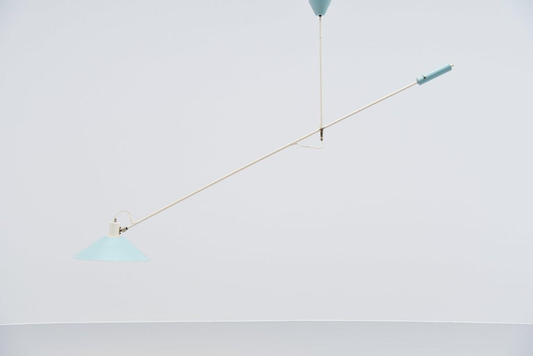 Mid-20th Century JJM Hoogervorst Anvia Counter Balance Ceiling Lamp, Holland, 1955 For Sale