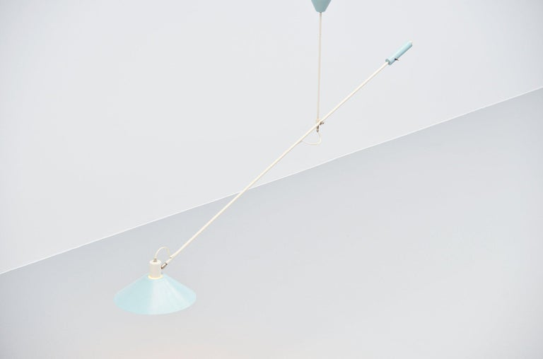 Metal JJM Hoogervorst Anvia Counter Balance Ceiling Lamp, Holland, 1955 For Sale