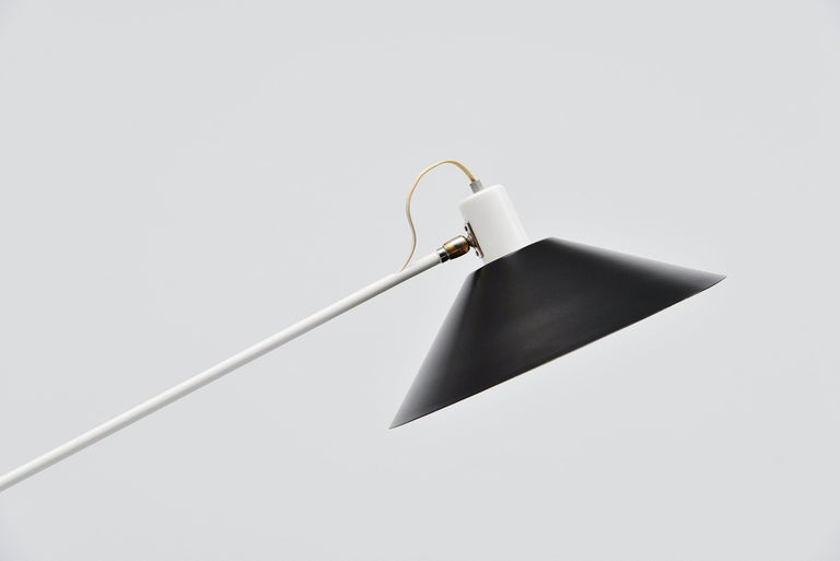 Large counter balance ceiling lamp model 5018 designed by JJM Hoogervorst and manufactured by Anvia Almelo, Holland, 1957. This counter balance lamp is usable in different positions as it is fully adjustable and can also be rotated. This typical