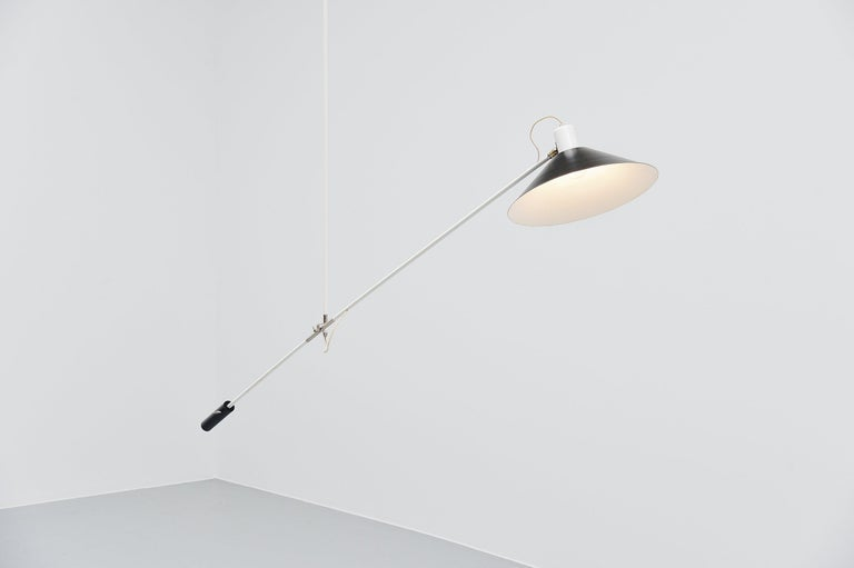 Cold-Painted JJM Hoogervorst Anvia Counter Balance Ceiling Lamp, Holland, 1957 For Sale