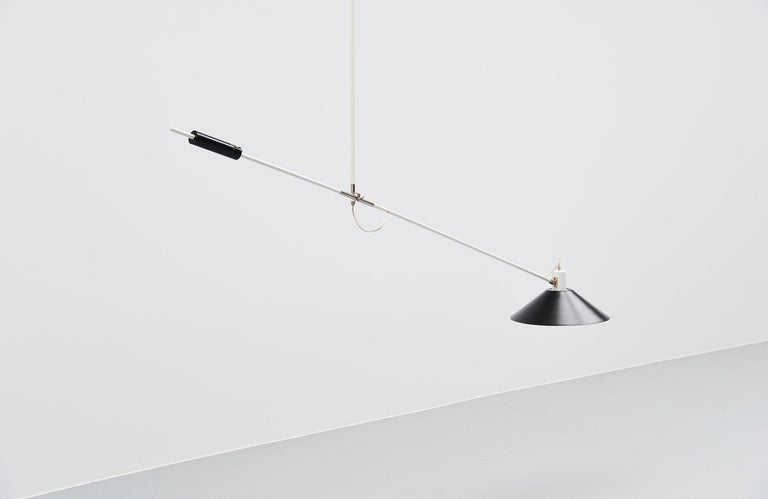 Metal JJM Hoogervorst Anvia Counter Balance Ceiling Lamp, Holland, 1957 For Sale
