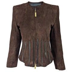 JL Scherrer Womens Vintage Brown Suede Jacket, 1980s
