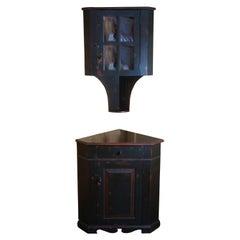 JL Treharn Early American Hanging Corner Cupboard Country Cabinet Farmhouse