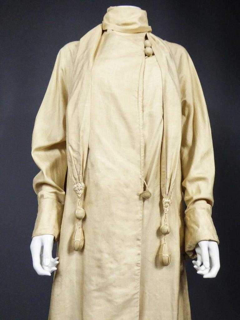JM Gidding & Co Beige Wild Silk Dust Jacket USA Circa 1910 For Sale 1