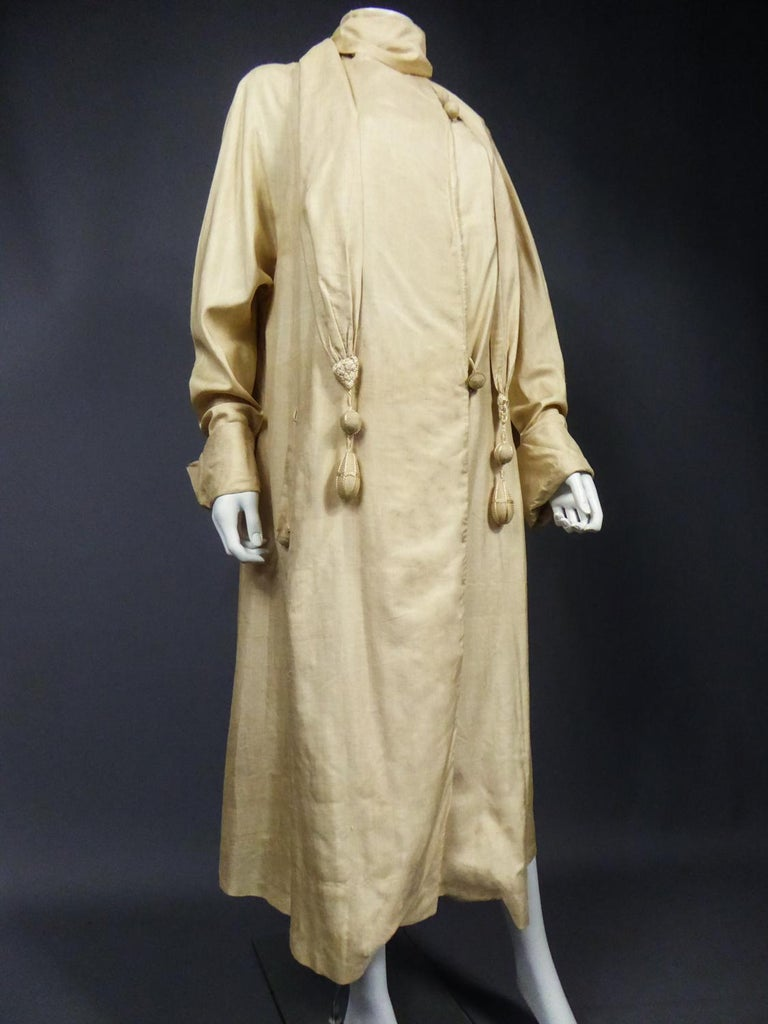 JM Gidding & Co Beige Wild Silk Dust Jacket USA Circa 1910 For Sale 4