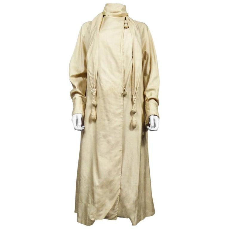 JM Gidding & Co Beige Wild Silk Dust Jacket USA Circa 1910 For Sale