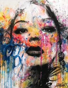 """""""À Sa Manière"""" In Her Way, Colorful Street Art Pop Abstract on Canvas"""