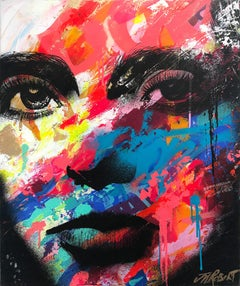 """Elle Fait Face"" She Faces, Colorful, Abstract Street Art, French Artist"
