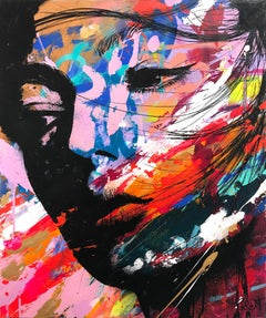 """Comme un Rayon de Lumière"" Like a Ray of Light, Colorful, Abstract Street Art"