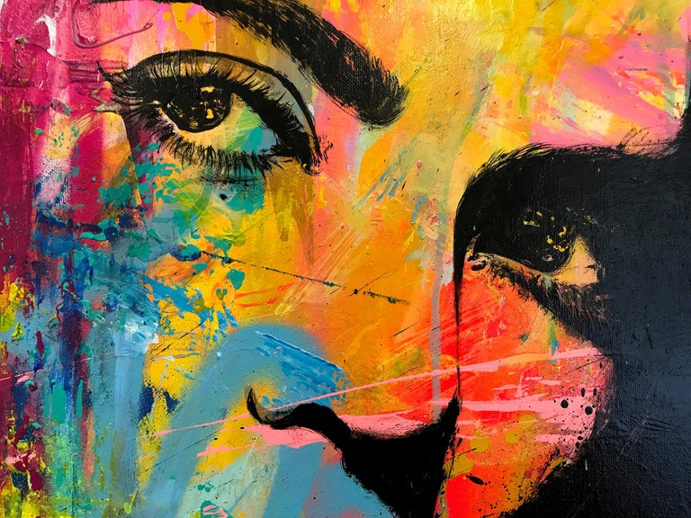 """Quoiqu'il Arrive"" Whatever Happens, Colorful, Abstract Street Art - Black Portrait Painting by J.M. Robert"