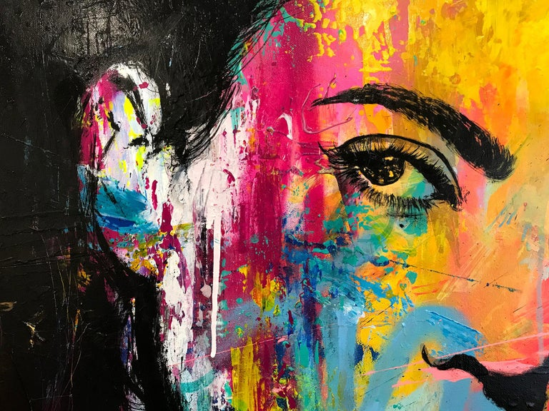 JM Robert's portraits start with a bright a bold background done with spray paint. JM started his career as a graffiti artist, painting his signature portraits on the walls of Paris France, and parts of Europe. Today he is able to bridge Fine Art