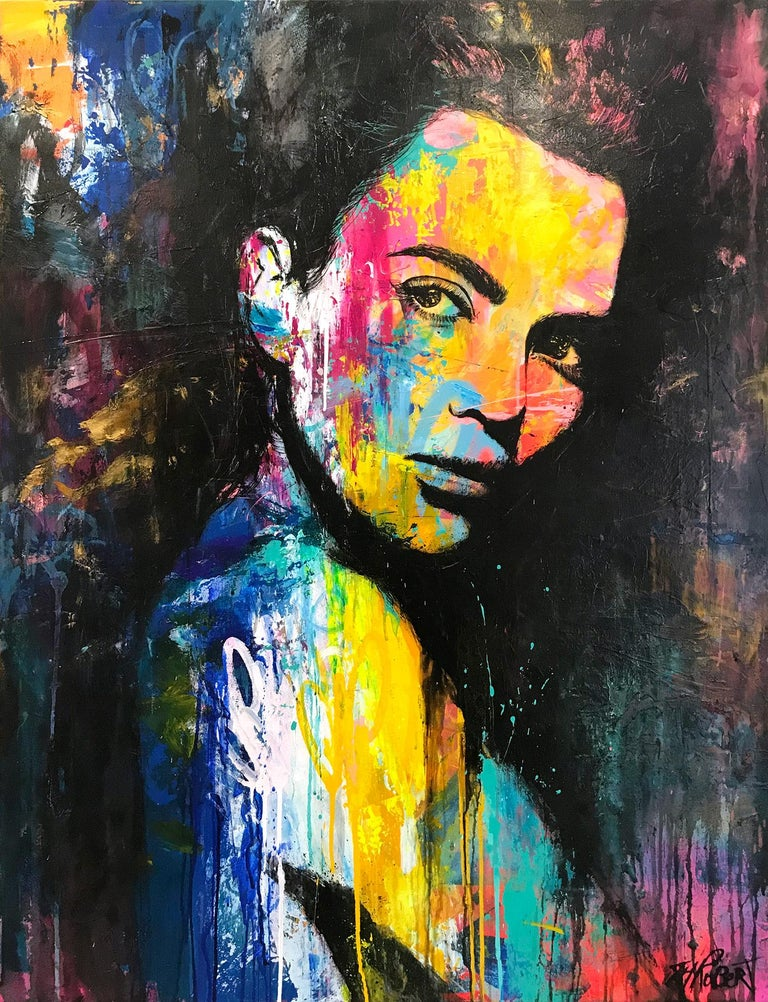 "J.M. Robert Portrait Painting - ""Quoiqu'il Arrive"" Whatever Happens, Colorful, Abstract Street Art"