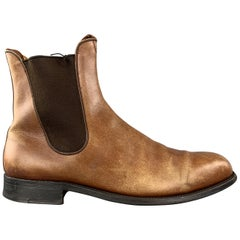 J.M. WESTON Size 8 Tan Distressed Leather Pull On Chelsea Boots