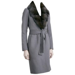 J.Mendel Charcoal Grey Wool-Felt Fur Trimmed Coat - Size Estimated S