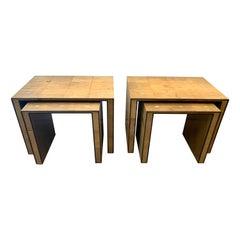 JMF Style Ochre Shagreen Clad Nesting Tables, Two Sets