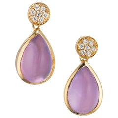 JMP Diamond Amethyst Mother of Pearl Yellow Gold Dangle Earrings