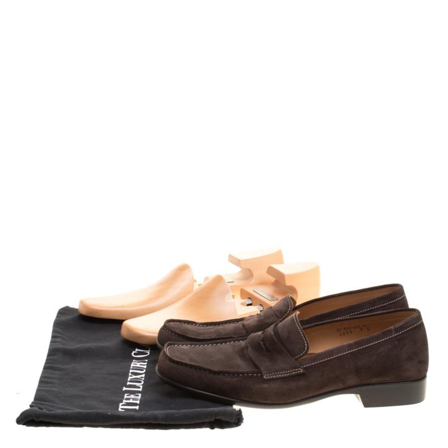 f20037ca6828b J.M.Weston Brown Suede Penny Loafers Size 43