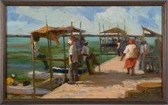 Antique Female Impressionist Tropical Caribbean Island Port Seascape Painting