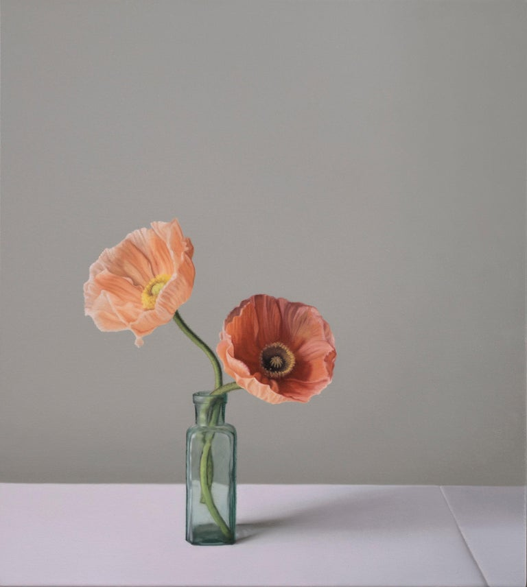 Still Life with Glass Bottles and Icelandic Poppies - Painting by Jo Barrett