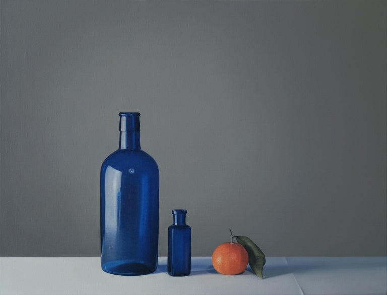 Jo Barrett Figurative Painting - Still Life with Two Blue Glass Bottles and Clementine