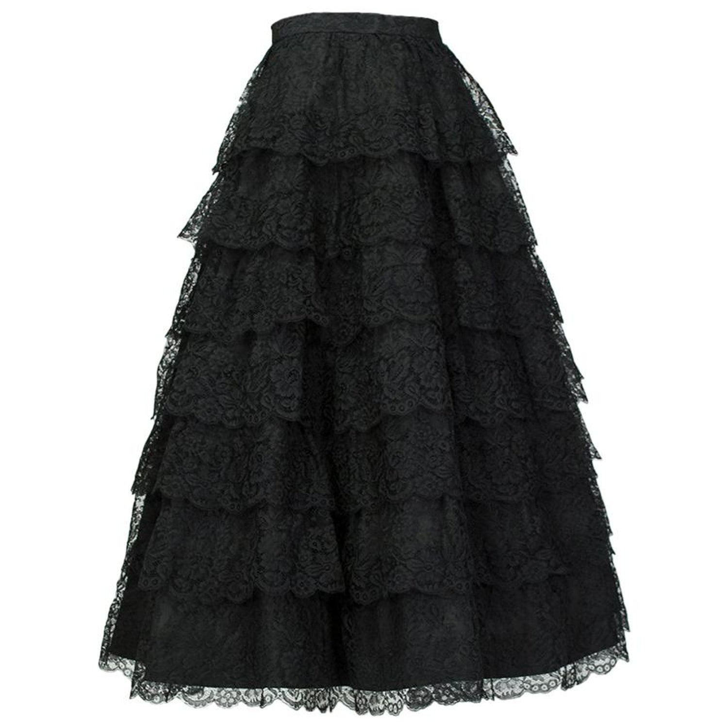 54f55233 Jo Copeland Black Tiered Lace Ballerina Skirt, 1950s For Sale at 1stdibs