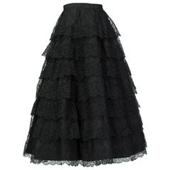 Jo Copeland Black Tiered Lace Ballerina Skirt, 1950s