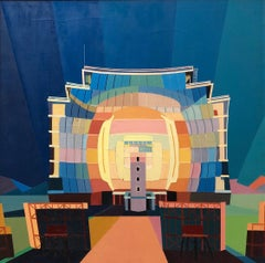 Sun Temple,  Post Industrial Art, Large Modernist Colorful Oil Painting