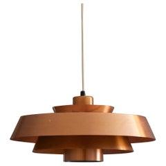 """Jo Hammerborg, """"Nova"""" Pendant Light, Copper, Fog & Mørup, Denmark, 1960s"""