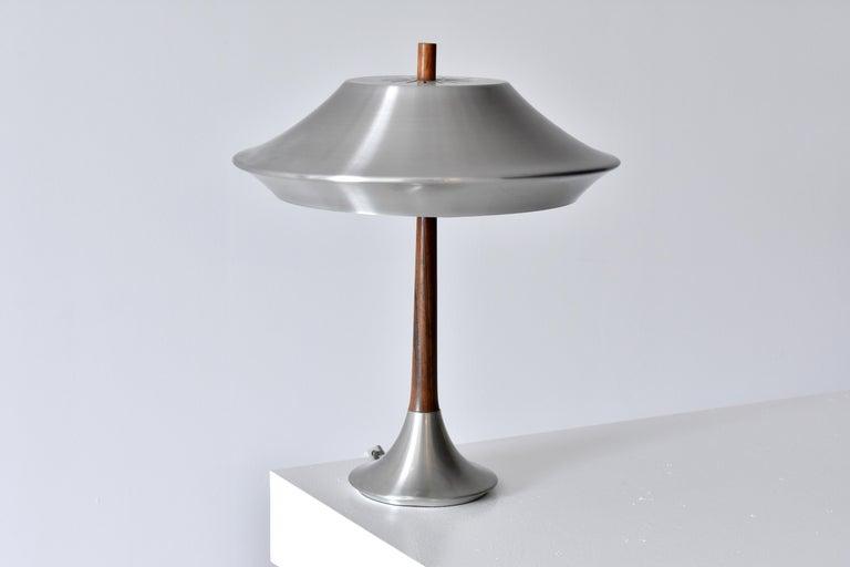 Scandinavian Modern Jo Hammerborg, Table lamp, Aluminium, Rosewood, Fog & Mørup, Denmark, 1960s For Sale