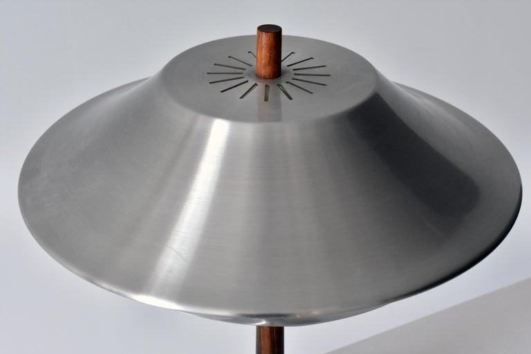 Danish Jo Hammerborg, Table lamp, Aluminium, Rosewood, Fog & Mørup, Denmark, 1960s For Sale