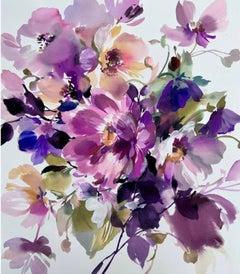 Jo Haran, Peony Love, Original Floral Painting, Contemporary Art, Affordable Art