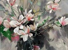 Jo Haran, Perched Magnolia, Contemporary Art, Floral Art, Affordable Art