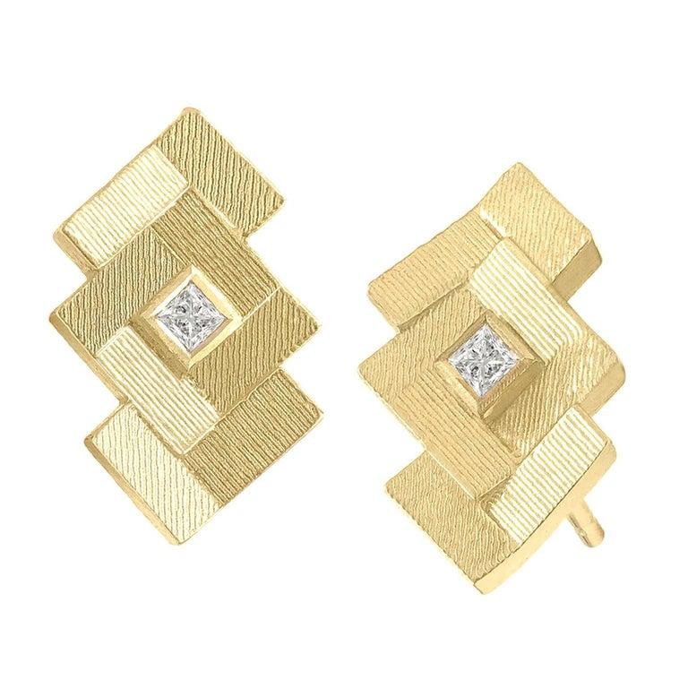 Jo Hayes Ward Princess Cut Diamond Reflective Gold Parquet Stud Earrings For Sale