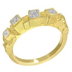 Jo Hayes Ward Princess Cut White Diamond Reflective Chaos Cube Band Ring