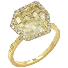 Jo Hayes Ward White Diamond Reflective Yellow Gold Hex Stratus Ring