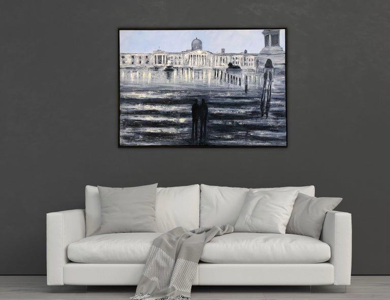 This stunning oil on canvas painting by Award Winning Artist Jo Holdsworth shows Trafalgar Square in London, beautifully capturing its majestic fountains and wonderful architecture.The painting is somewhat prophetic, showing a sparsely populated