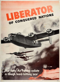 Original Vintage WWII Poster Liberator Bomber Plane US Air Force Army Military