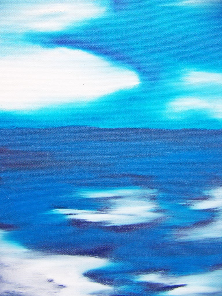 Love's Illusions---Study, Painting, Oil on Canvas - Blue Abstract Painting by Jo Moore