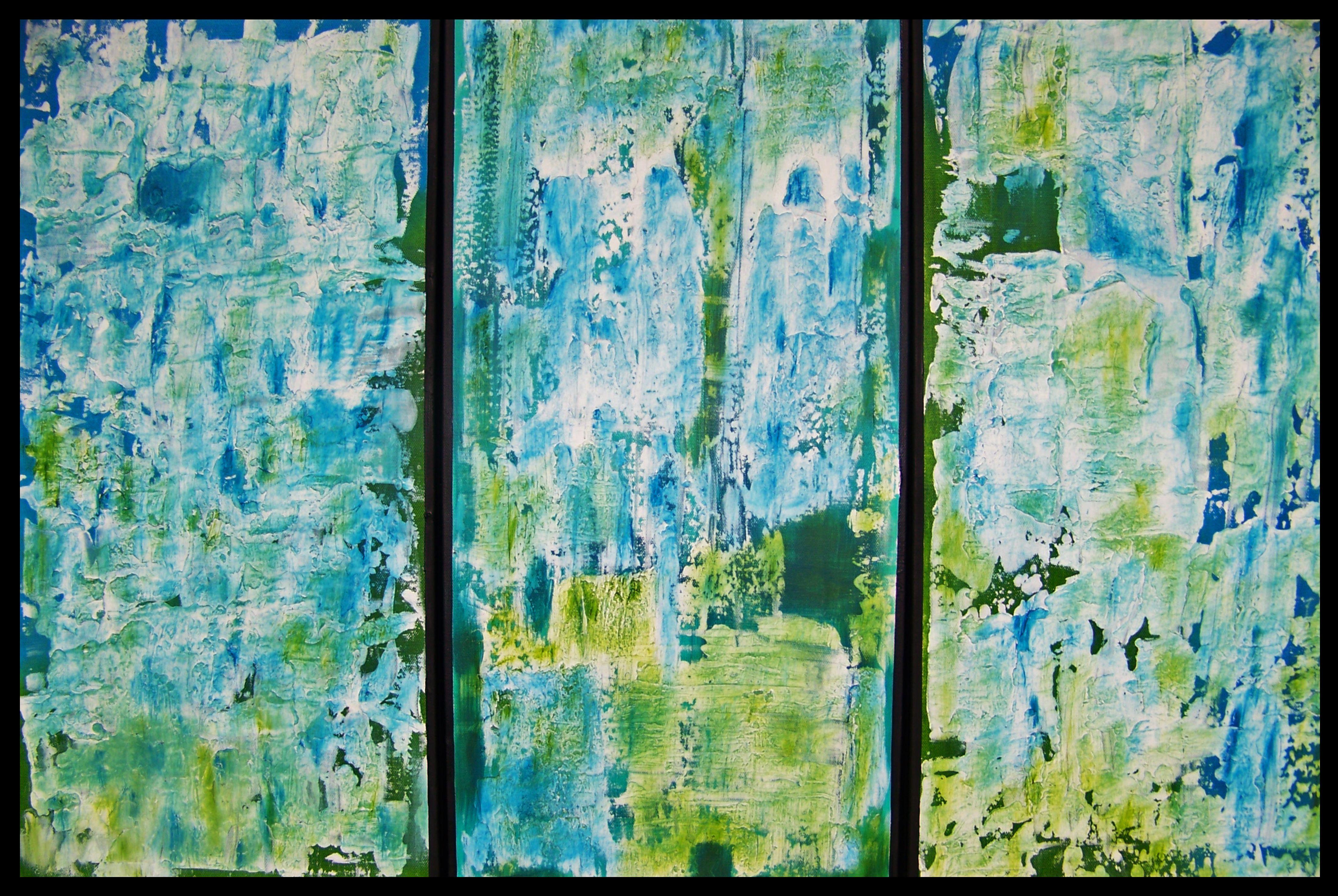 Canvas Santa Fe >> Santa Fe Summer Triptych Painting Oil On Canvas