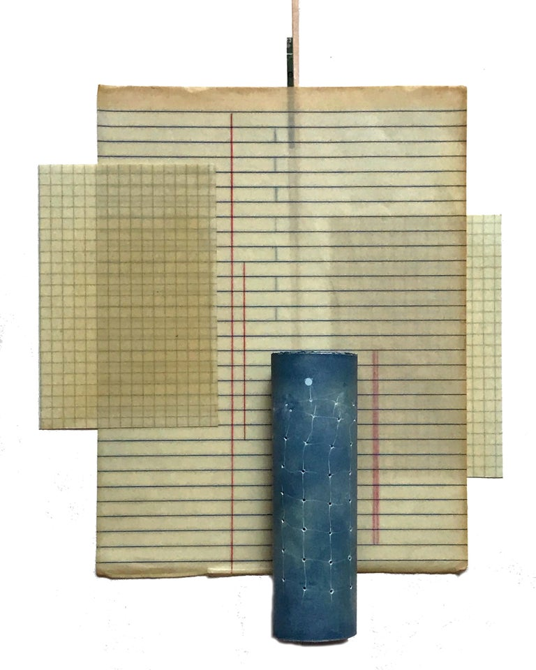 Jo Yarrington, blue cylinder with red weaving and codes, mixed media, 16 x 12 in - Mixed Media Art by Jo Yarrington
