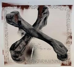 """Bones"", Kenya, Elephant, Painting, Photography, Mixed Media"