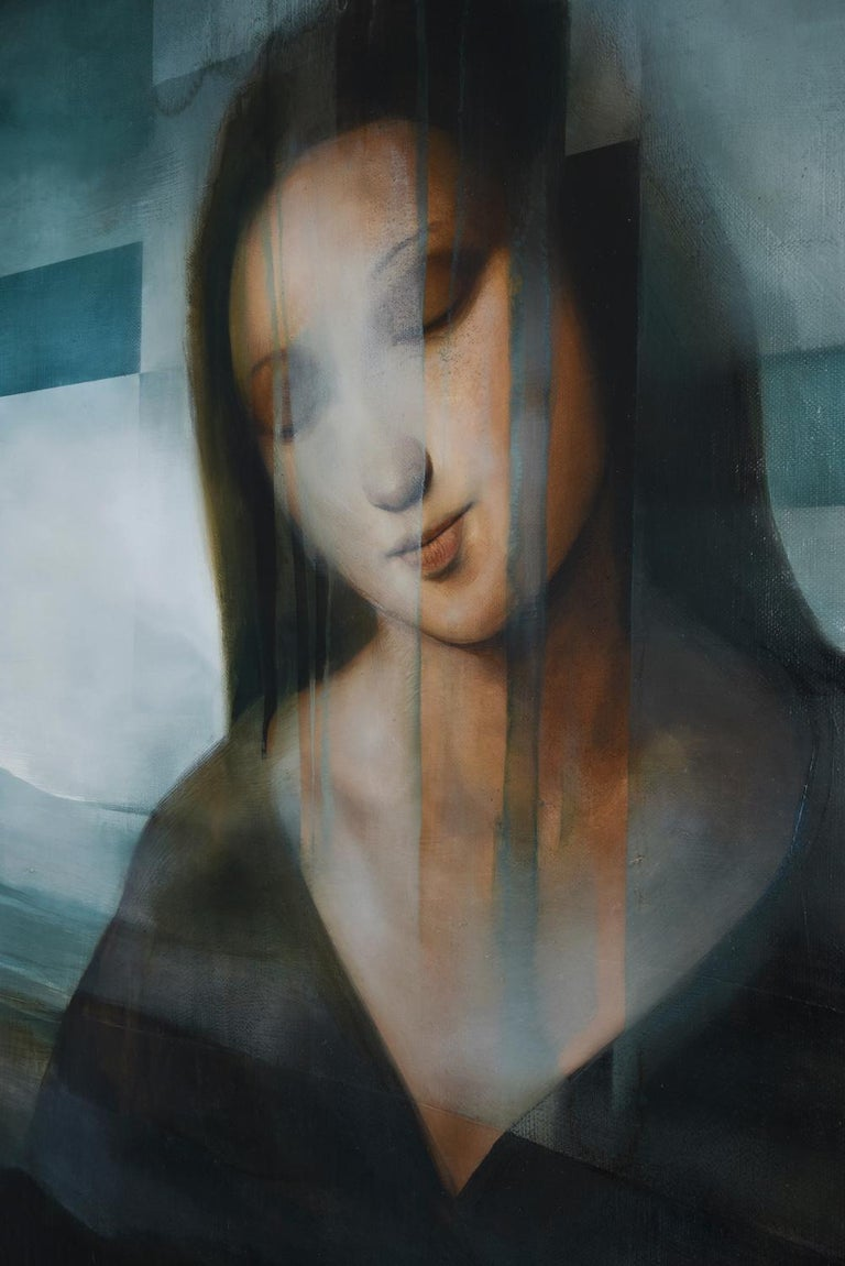 Madonna III, contemporary religious painting - Black Portrait Painting by Joachim van der Vlugt