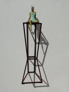 """""""Desire"""" contemporary bronze table mural sculpture figurative girl freedom pride"""
