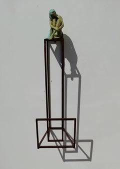 """""""Dreamy"""" contemporary bronze table mural sculpture figurative girl freedom dream"""