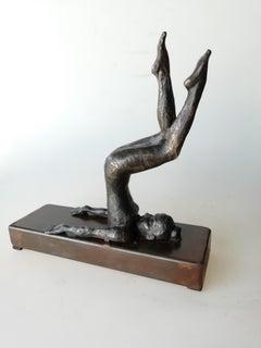 """Halasana"" contemporary bronze table, mural sculpture figurative girl relax yoga"