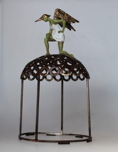 """""""Super Lady"""" contemporary bronze table sculpture figurative liberty strength fly"""