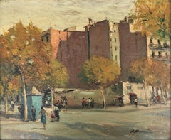 Barcelona view urbanscape Spain oil on board painting